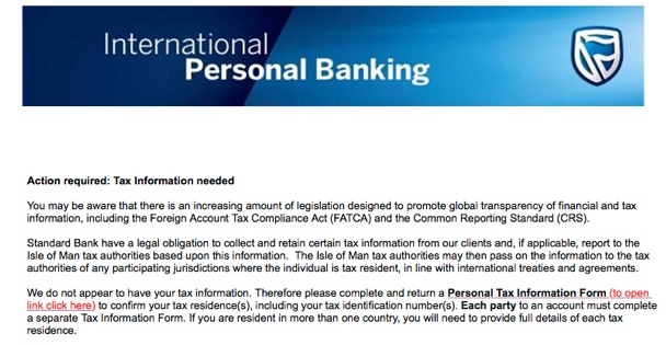 Standard Bank- Tax Information needed
