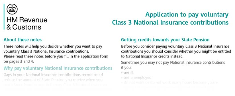 National Insurance Class 3 Form